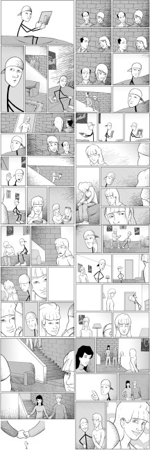 These are the original finished pages.  Notice there are a few spots where panels are missing.  Click to enlarge.