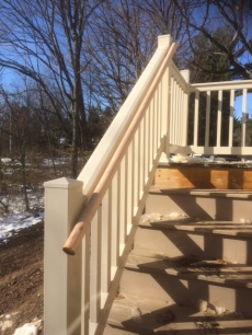 The handrail on the handrail on the deck